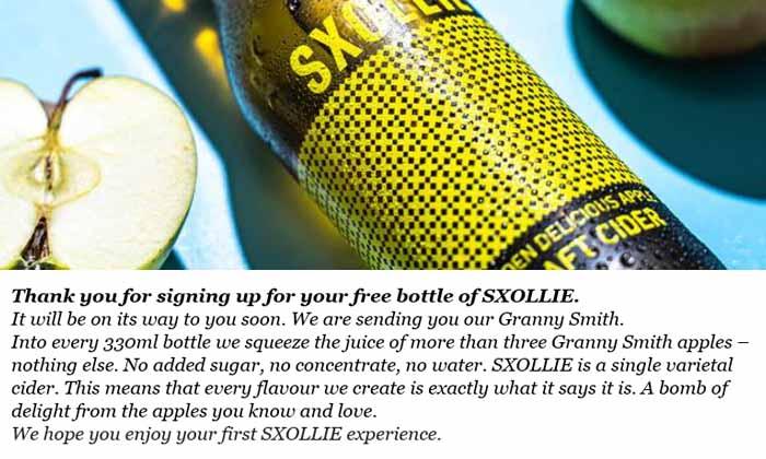 Soxille Craft Cider Free Sample Proof