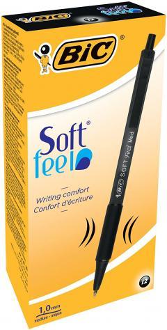 £5 off BIC Soft Feel Clic Grip Ballpoint Pens Black 12 Box