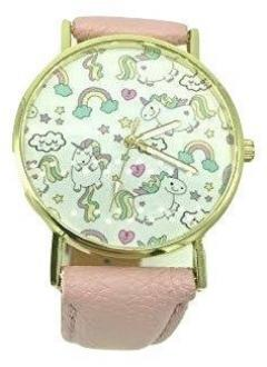£9 for Rainbow Unicorn Watch with Pink Leather Strap