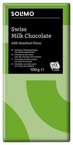 44% off Solimo - Swiss Milk Chocolate with Hazelnut Pieces