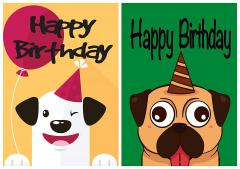 40% off 10 Value Dog/Pug Fun Birthday Cards & Envelopes