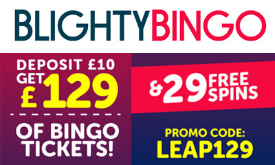 Get £129 Bingo Tickets & 29 spins