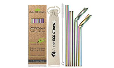 Free Reusable Rainbow Metal Straws