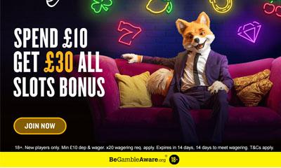 Spend £10 Get £30 Slots Bonus