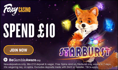 Spend £10, Get 50 Spins on Starburst