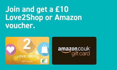 Free £10 Love2Shop or Amazon voucher