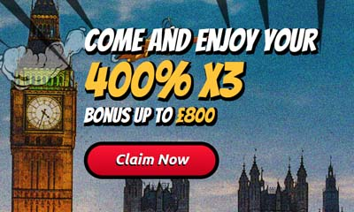 400% Bonus up to £800 with Agent Spins