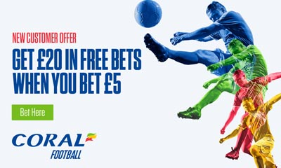 Get £20 in Free Bets when you Bet £5