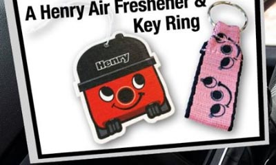 Free Henry the Hoover Air Freshener & Key Ring