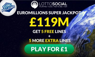 £119m Euromillions Jackpot - 10 Tickets for £1