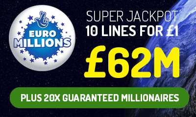 £62m Euromillions Jackpot - 10 Tickets for £1